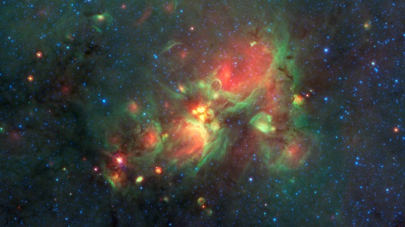 """Volunteers using the web-based Milky Way Project brought star-forming features nicknamed """"yellowballs"""" to the attention of researchers, who later showed that they are a phase of massive star formation."""