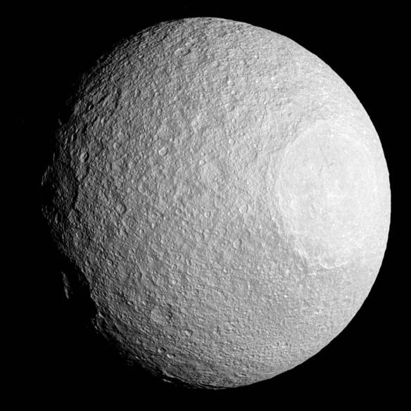 Tethys with crater