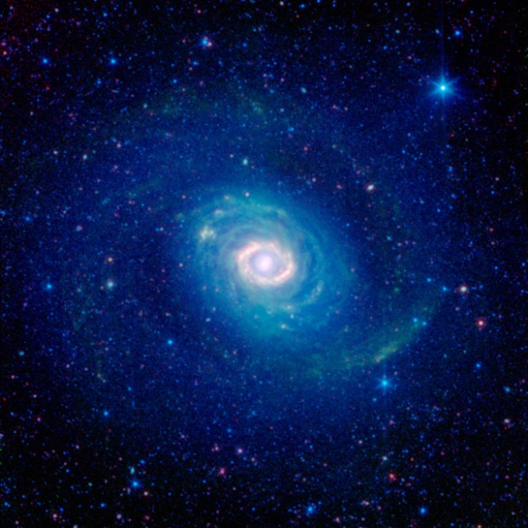This infrared image from NASA's Spitzer Space Telescope shows the double-ringed galaxy Messier 94. Just outside the bright core, a burning ring of star formation glows brightly in the light of warm interstellar dust. Encircling it all is the faint blue gl